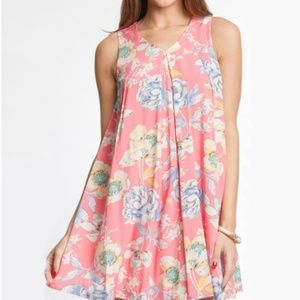 She + Sky Pink Floral Mini Dress Silk Blend L